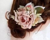 bridal headpiece, bridal hair piece, wedding hairpiece, floral hair comb, pink flower hair clip, mauve, vintage hair clips, hair accessories