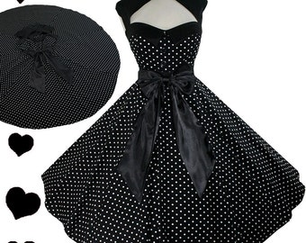 Rockabilly Retro Dress New Polka Dot 50s Vintage Style Full Circle Skirt Swing Dance Black White Bow Pinup Party S M L Xl 1X 2X 3X