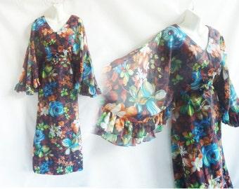 Vintage 60s Dress Size M Angel Sleeve Floral Chiffon 70s Maxi Hippie Boho Bride