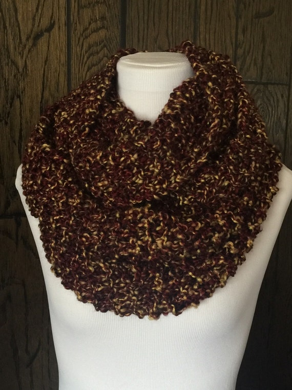 Outlander Inspired Hand Knit Claire's Cowl Infinity Scarf in Rich Browns with Golden Tones