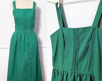 Vintage Green Dress, 50's dress, Vintage Sundress, Green Sundress, Summer Dress, NOS dress, Linen Dress, Medium Dress, Large Dress