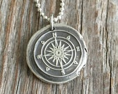 Compass Vintage Inspired Pendant - Fine Silver Wax Seal Style Necklace with Sterling Silver Chain