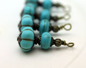Vintage Style Turquoise Ribbed Melon with Brass Bead Dangle Charm Drop Set