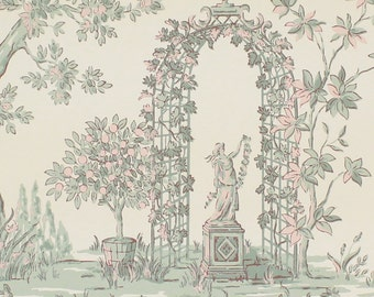1950's Vintage Wallpaper Scenic Arbor Toile Pink Blue Green
