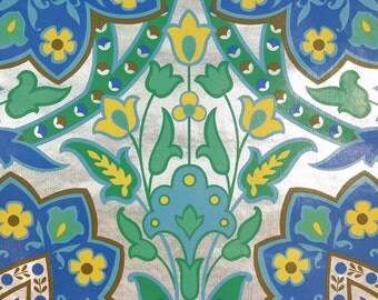 1970s Vintage Wallpaper Retro Yellow Green Blue Flowers on Metallic Foil by the Yard