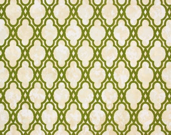 1970s Retro Vintage Wallpaper Green Flocked Lattice on Marble by the Yard