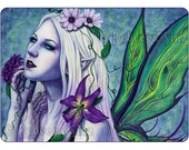 Seelie ACEO Print Fairy Art Fantasy Light Spring Flowers Purple Green Portrait Wings Gothic Watercolor
