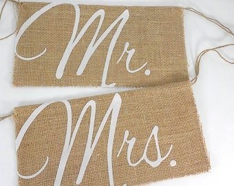 Mr & Mrs Chair sign, burlap, chair banner, A015- shabby chic wedding sign decoration