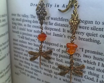 Outlander Earrings - Dragonfly in Amber Earrings -  Amber Earrings - Diana Gabaldon Inspired - Outlander Jewelry - Outlander Theme Earrings