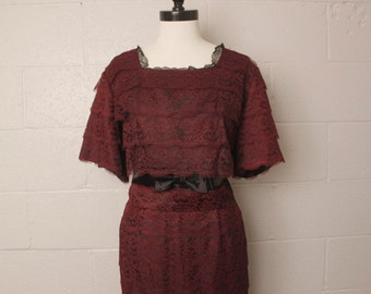 Vintage 1950's 1960's Chocolate Brown Lace Dress Plus Size XXL