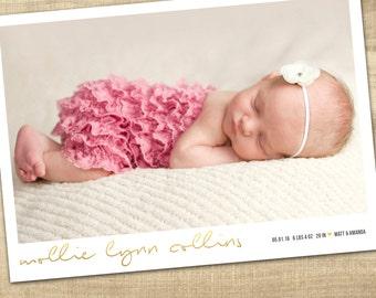 baby birth announcement, photo birth announcement, baby announcement, digital baby birth announcement, modern baby birth