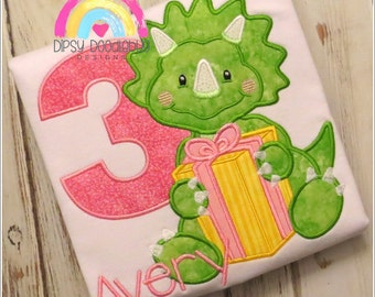 Dinosaur  Birthday Shirt - Dinosaur Party- Girls Dinosaur - Boys Dinosaur - Dinosaur Shirt - Dinosaur Birthday - Triceratops