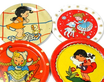40s Tin Toy tea plates, 4 with Storybook girls graphics, Instant Collection.