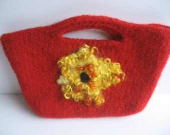 SALE! Red Wool Felted Clutch