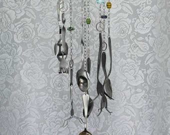 Cutlery Mobile Chime, Silverware Wind Chime, Upcycled Recycled, Home Accent, Patio Garden Decor, Steampunk, Industrial Art, OOAK 80SWC03
