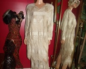 Vintage  90s Flapper Dress Lace  Metallic  Tea party Holiday  Size M+