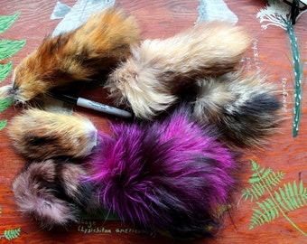 Lot of real fox, coyote and raccoon tail pieces for small craft, fly tying and display DESTASH