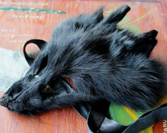 Real eco-friendly dyed black Arctic fox fur mask - shaped and glasses friendly - for ritual, dance, costume and more