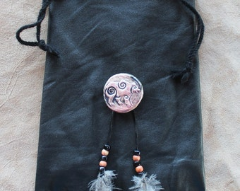 Recycled black leather drawstring pouch with ceramic bear button, beads and feathers bag for tarot runes dice