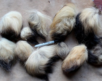 Lot of 11 CRAFT quality tanuki raccoon tail end tufts for fly tying, poofballs, more DESTASH