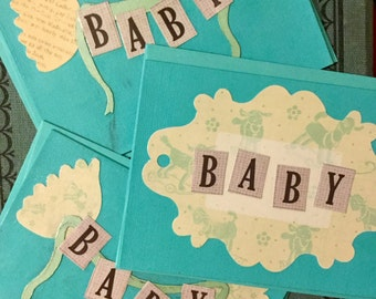 Set of three Blue Baby Notecards