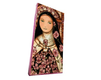 The Little Flower of Jesus -  Giclee print mounted on Wood (5 x 10 inches) Folk Art  by FLOR LARIOS