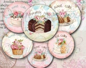 EAT CAKE CIRCLES Collage Digital Images  -printable download  file-
