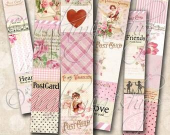VALENTINE STRIPS collage Digital Images -printable download file- Digital Collage Sheet Vintage Paper Scrapbook