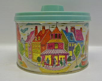 Cheerful biscuit tin - city scene - 1959