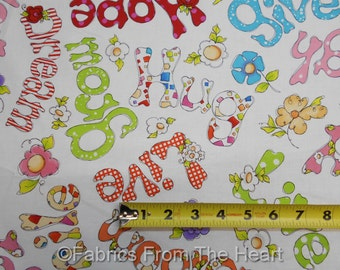 Happy Cats Words Hug Live Grow Dream Smile on White BY YARDS QT Cotton Fabric