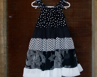 Dress-Black and White Sophisticate -Peasant Style - Size 4 Toddler
