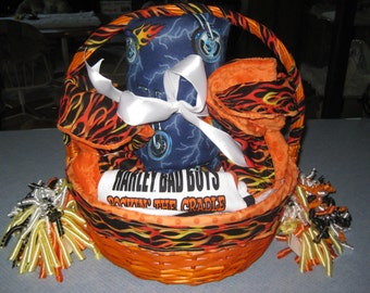 Harley Davidson Inspired Baby Gift Basket Blanket, Burp Cloths, Wash Cloths, Outfits