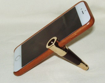 Smartphone Stand & Stylus, 24K Gold Plate, East India Rosewood