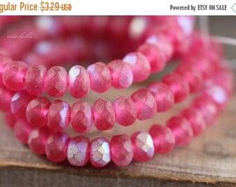 10% off FROSTY CHERRY BITS .. 30 Premium Czech Glass Rondelle Beads 3x5mm (4176-st)