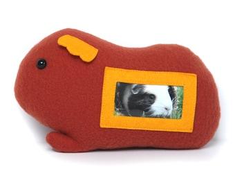 Guinea pig plush picture frame - ready to ship / cavy photo frame / guinea pig art / stuffed animal guinea pig / keepsake guinea pig