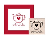 Teapot with Heart Personalized Rubber Stamp