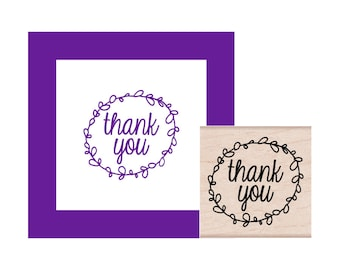 Thank You leaf circle Rubber Stamp