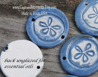 Sand dollar essential oil hand made pottery bead in Stormy Blue