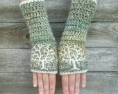 Fingerless Gloves with Tree of Life Embroidery in Green Blue Cream Arm Warmers Embroidered Hippie Boho fingerless gloves - MADE TO ORDER