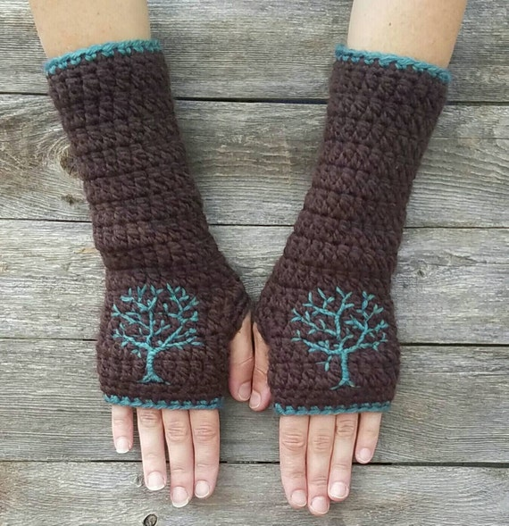 Fingerless Gloves with Embroidered Tree Design, Tree of Life, Dark Brown, Teal, Women's Gloves, Fall, Autumn, Texting Gloves, READY TO SHIP