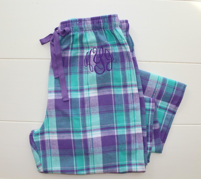 monogrammed flannel pajama pants purple plaid personalized