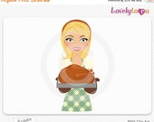 SALE Thanksgiving woman with turkey, cooking girl digital PNG (Susan 470)