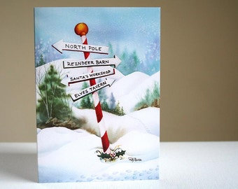 CHRISTMAS CARDS - North Pole Trail - Set of 10 - Printed on Recycled Paper