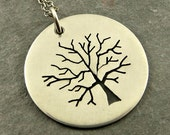 Oak Tree Necklace Silver Disc Necklace Nature Pendant Eco Friendly Jewelry Pierce and Saw Jewelry Gifts for Her
