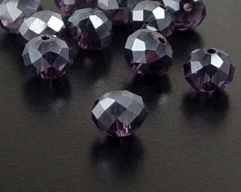 Glass Bead 12 Purple Rondelle Faceted 10mm x 7mm (1014gla10p1)