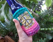 Hippie Gift, Hippie Festival, Peace Sign, Beer cozy, beer cooler, hippie crochet, beer gift, beer accessory, can cooler, bottle cooler, C58