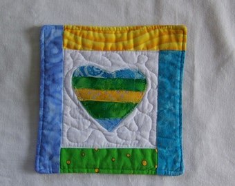 Scrappy  Bright Batik Hearts Mug Rug/Coaster  #17