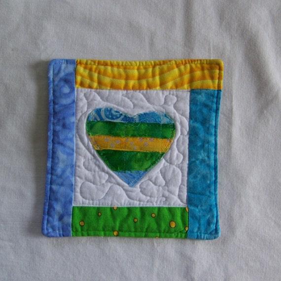 Scrappy Bright Batik Hearts Mug Rug/Coaster 17