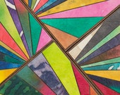 Handmade Paper Coasters - Colorful Mosaic - Flair Design - Stripe Coasters - Hostess Gift - Bold Colors - Mosaic Coasters - Wedding Gift