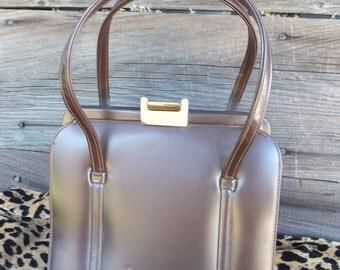 Vintage Theodor Handbag, Brown Vinyl Handbag, Ladies Purse, Granny Bag, Retro